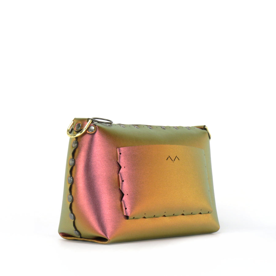 Rear side view of ruby small crossbody bag