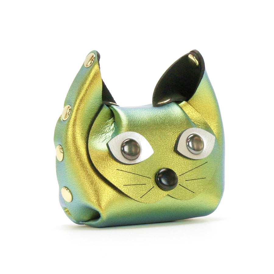 Gold Iridescent Cat Coin Purse and earbud case by Mohop