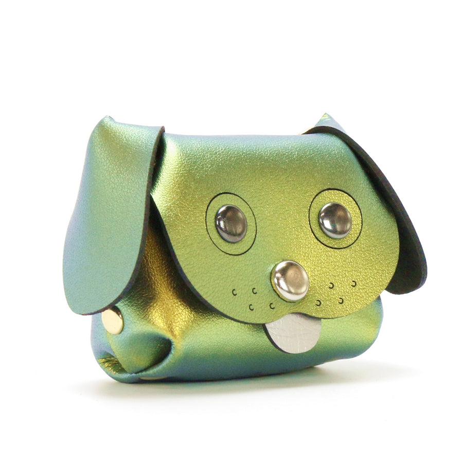 Dog Coin purse made from gold iridescent vegan leather by Mohop