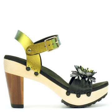 High Heel Flower Toe Ankle in Midnight and Scarab