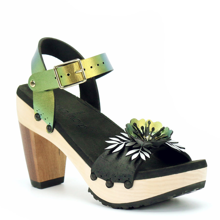 High Heel Flower Toe Ankle in Midnight and Scarab - Mohop