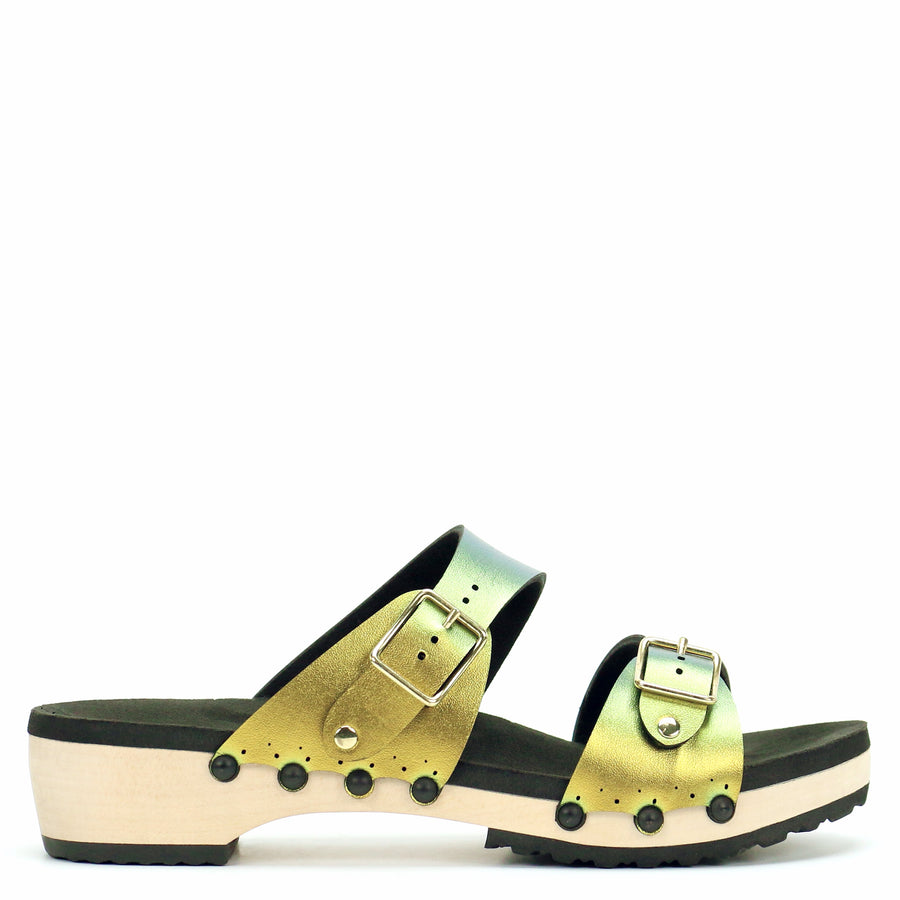 Low Clog with Gold Iridescent Mule Strap and Buckle Toe
