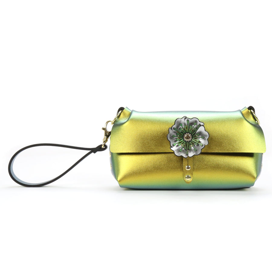 Gold iridescent vegan leather flower wristlet