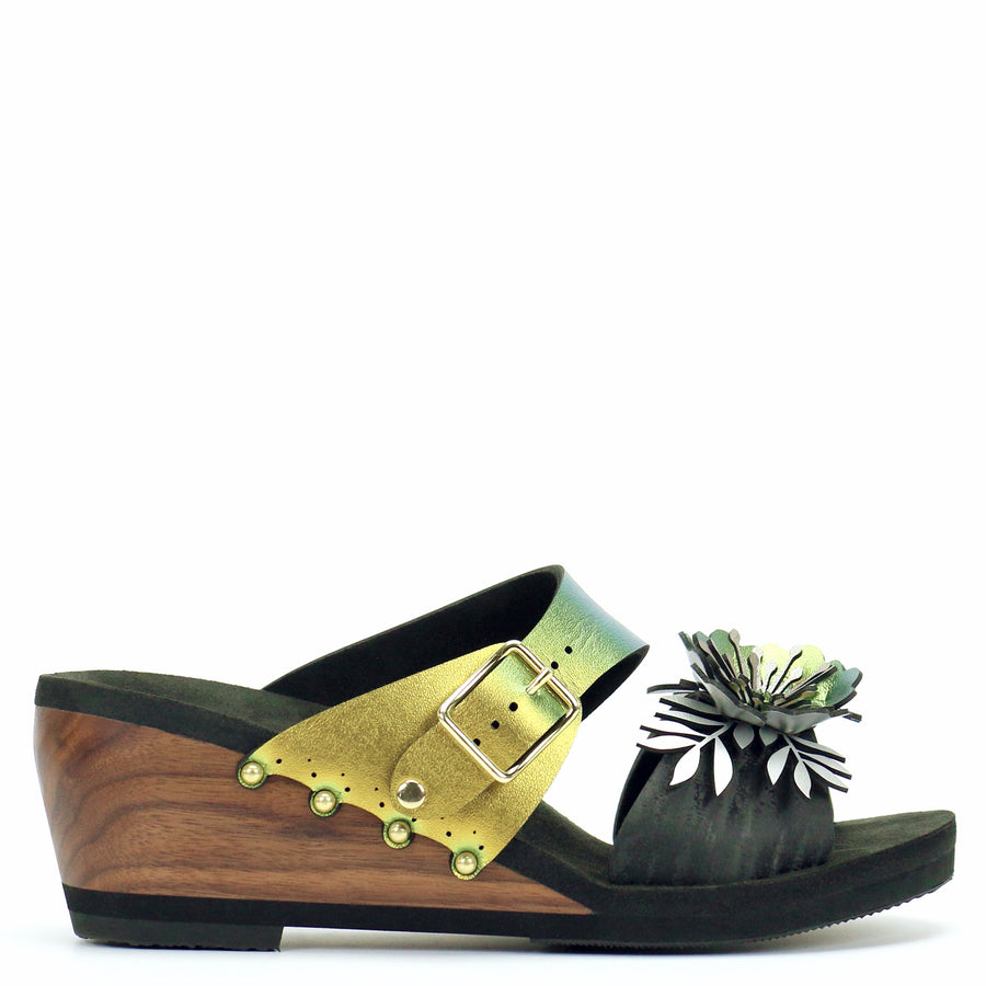 Mid Wedge Sandal with Gold Iridescent Mule Strap and Black Flower Toe