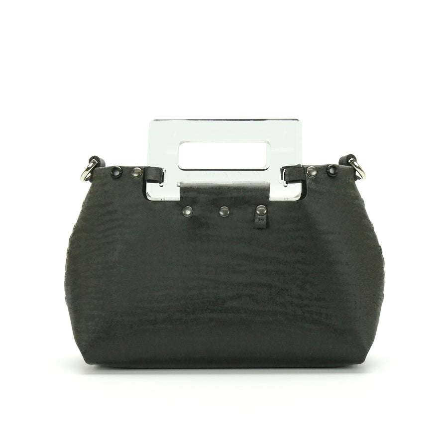 Black Chinchilla vegan leather small crossbody bag with clear acrylic top handle and removable strap