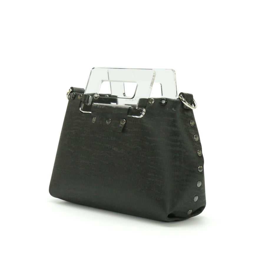 Black Chinchilla vegan leather small crossbody bag with clear acrylic top handle