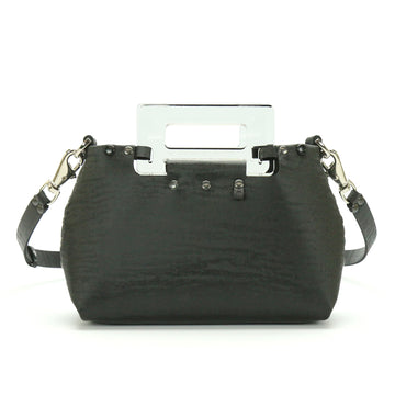 Black Chinchilla Small Crossbody Bag with Acrylic Top Handle