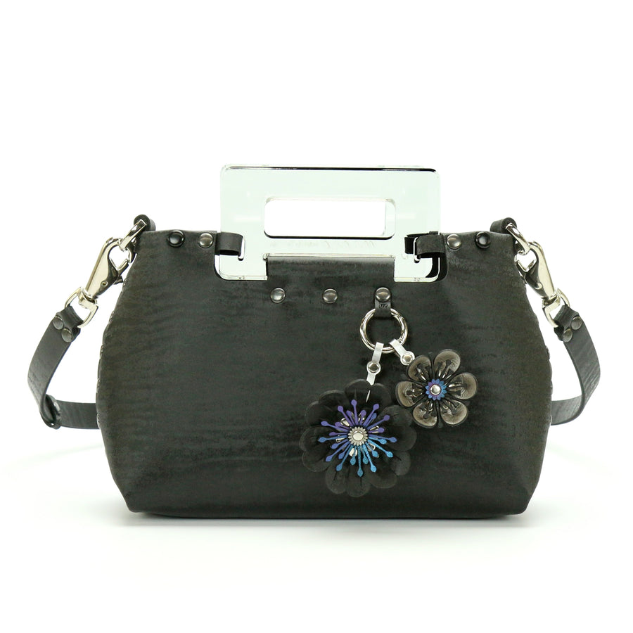 Black Chinchilla vegan leather small crossbody bag with clear acrylic top handle and flower purse charm