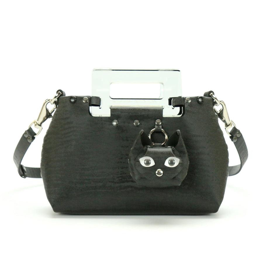 Black Chinchilla vegan leather small crossbody bag with clear acrylic top handle and cat coin purse