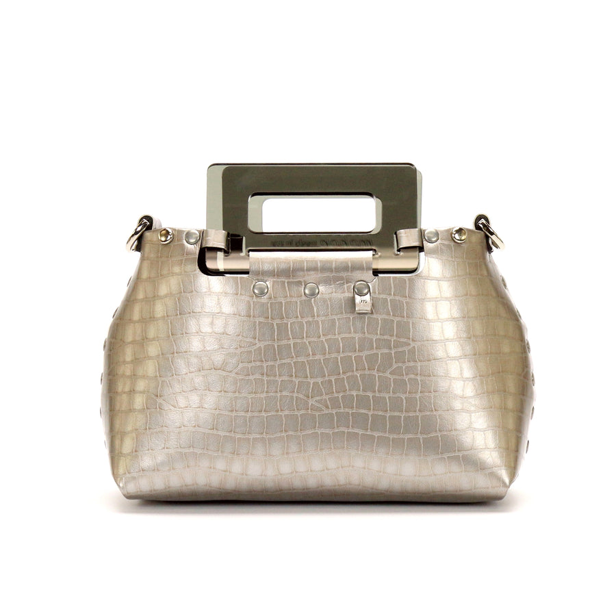 Silver Crocodile vegan leather small crossbody bag with acrylic top handle and removable strap