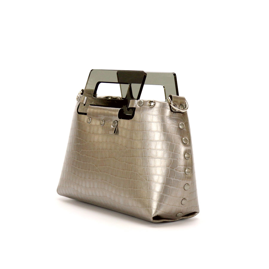Silver Crocodile vegan leather small crossbody bag with acrylic top handle