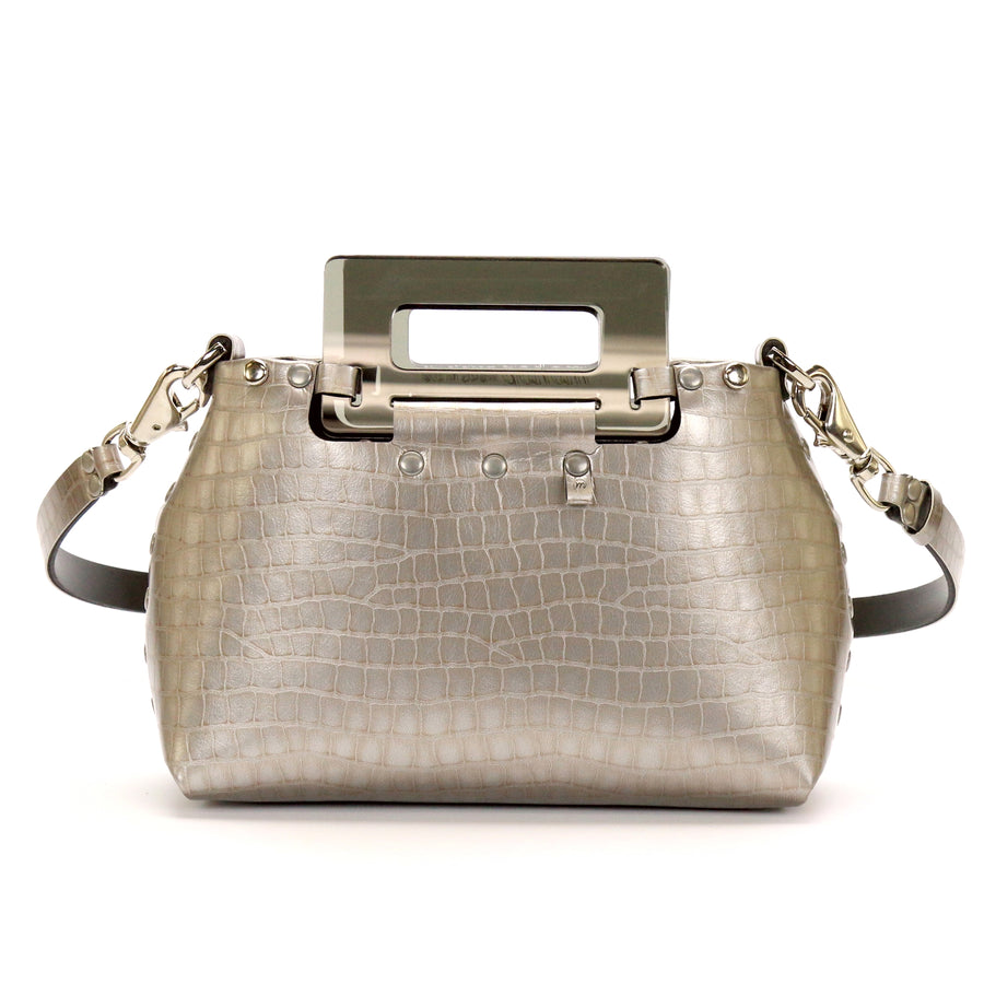 Silver Crocodile vegan leather small crossbody bag with acrylic top handle by Mohop