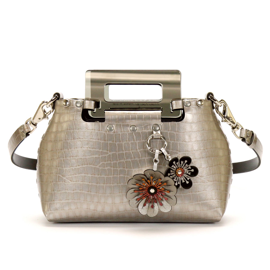 Silver Crocodile vegan leather small crossbody bag with acrylic top handle and flower purse charm