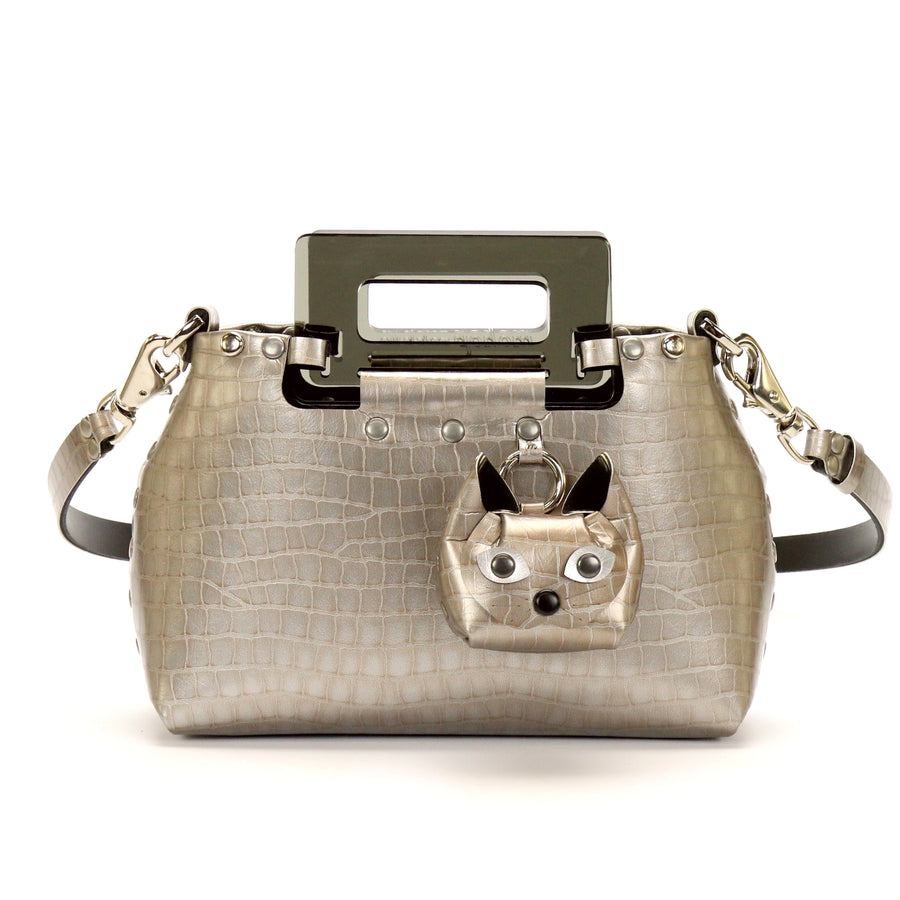 Silver Crocodile vegan leather small crossbody bag with acrylic top handle and cat coin purse