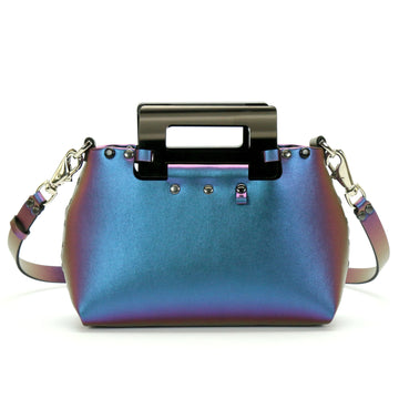 Blue Iridescent Small Crossbody Bag with Black Acrylic Top Handle