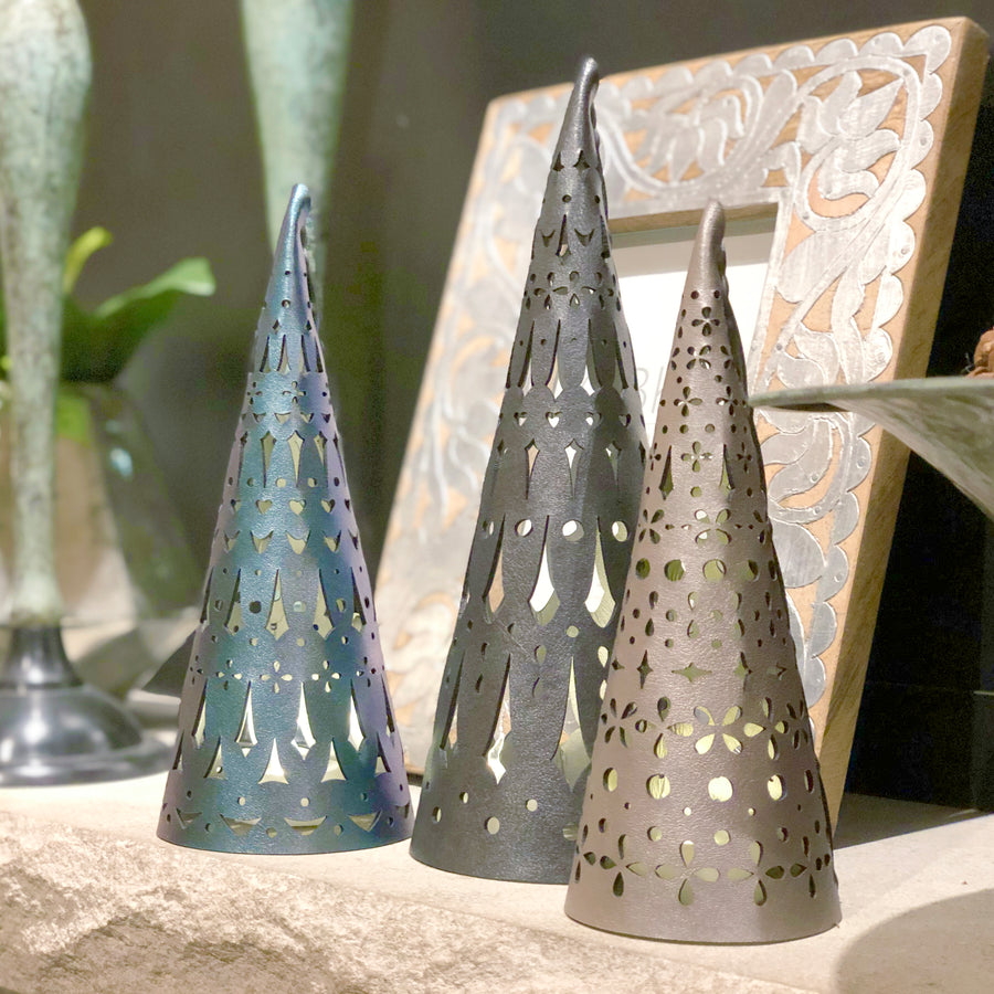 Slate, turquoise and silver holiday luminaria