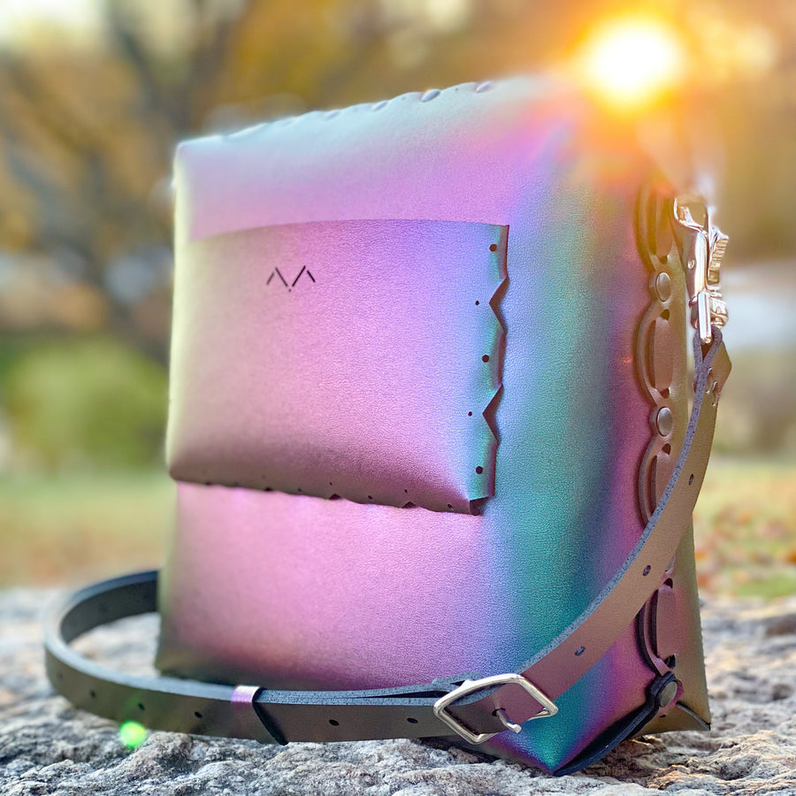 Chameleon medium crossbody bag shining brightly in warm glow of a fall sunset