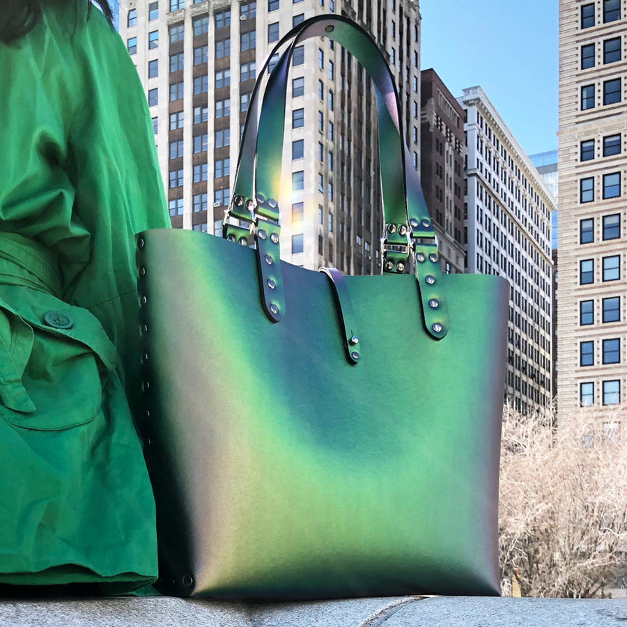 Emerald iridescent vegan leather tote bag