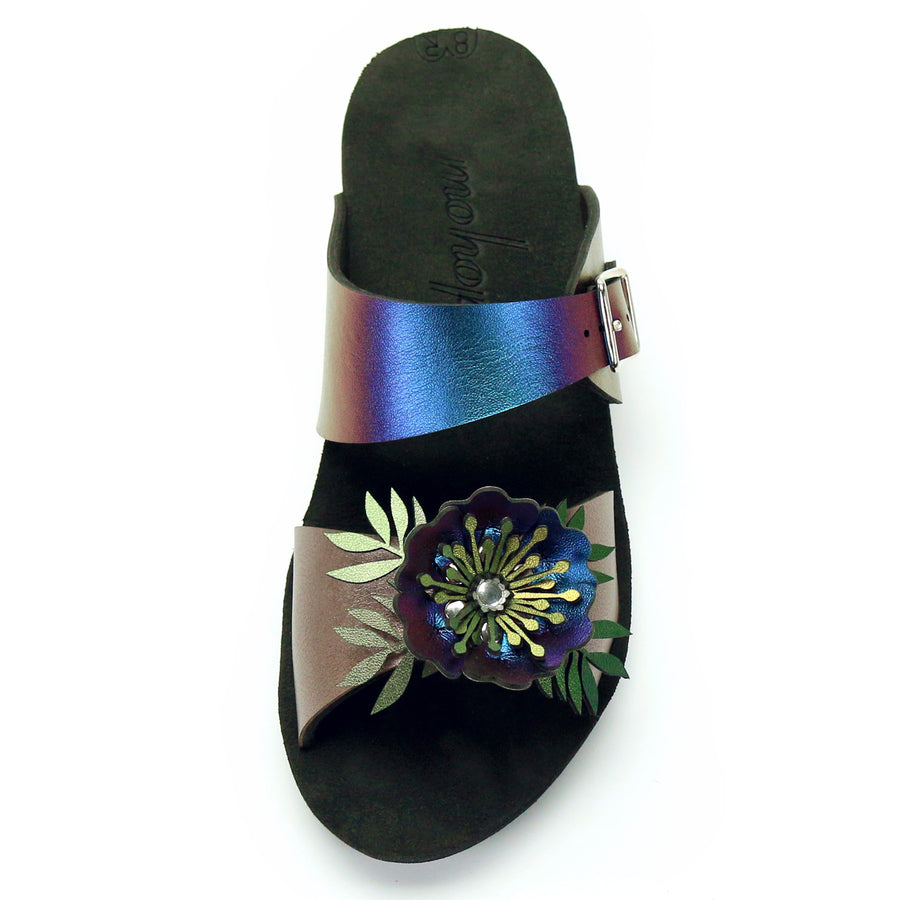 Low Wedge Flower Toe Mule in Rose and Peacock - Mohop