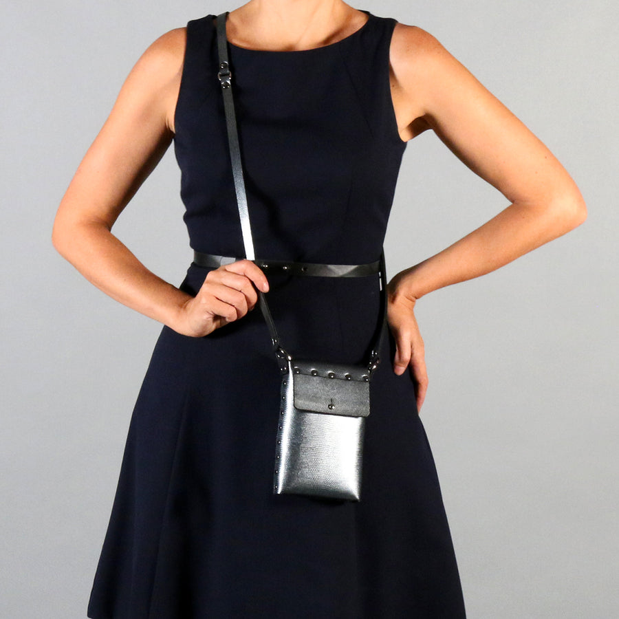 Model with Mohop Pewter Mobile Bag