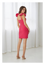 Load image into Gallery viewer, V PLUNGE BOW SHOULDER MINI DRESS - PINK