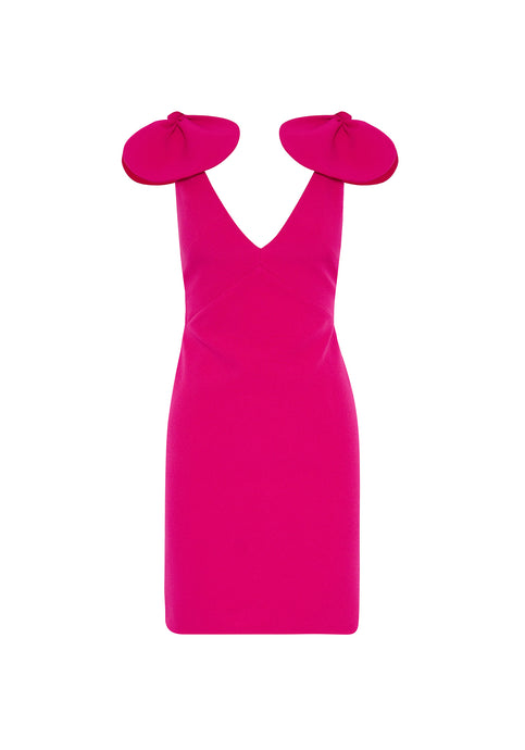 V PLUNGE BOW SHOULDER MINI DRESS - PINK