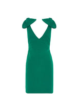 Load image into Gallery viewer, V PLUNGE BOW SHOULDER MINI DRESS - GREEN