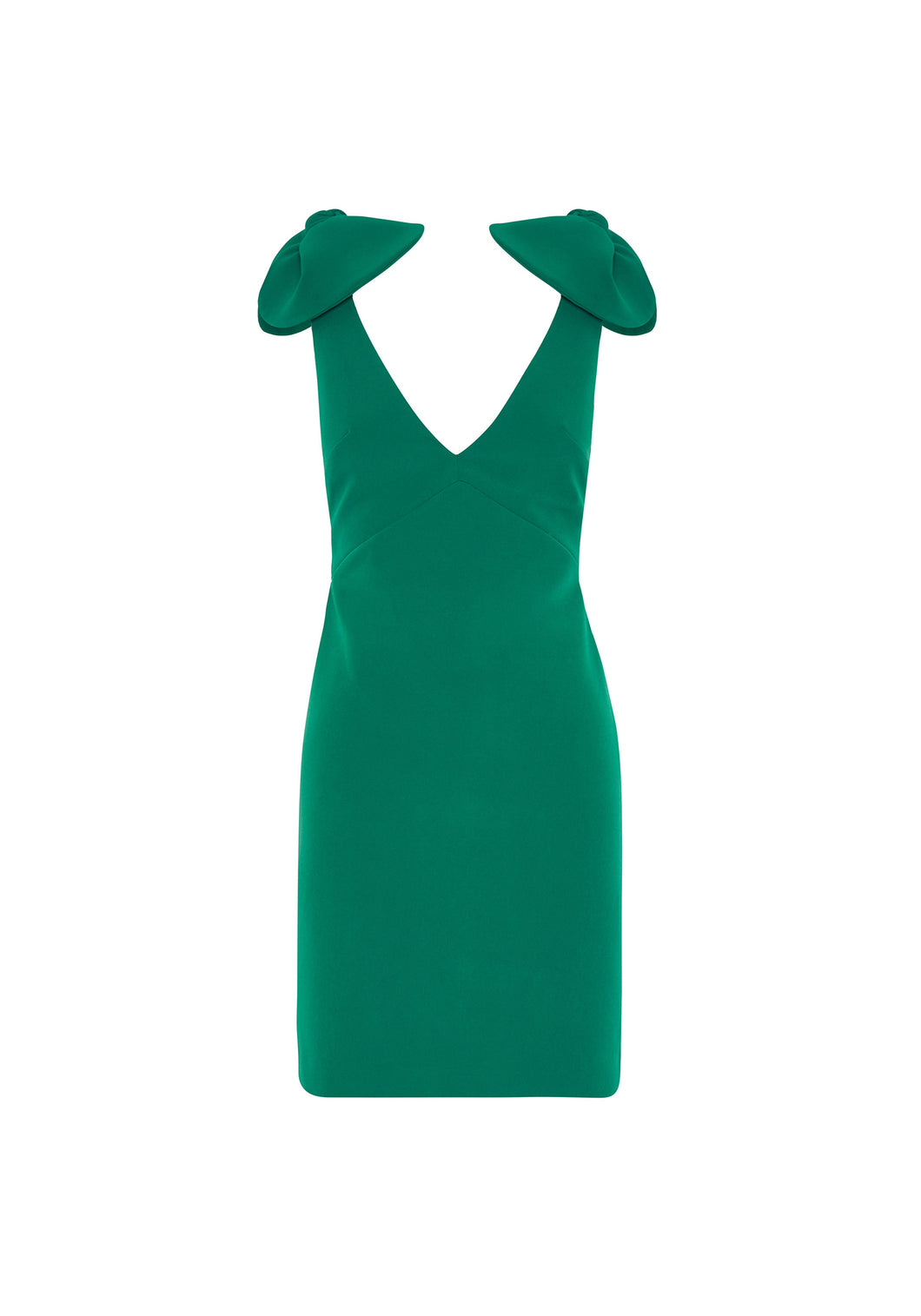 V PLUNGE BOW SHOULDER MINI DRESS - GREEN