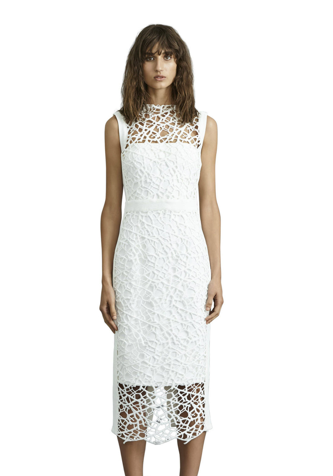 SOPHIA LACE MIDI DRESS - White