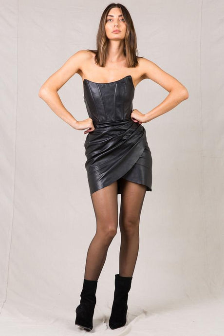 EVANGELIE LEATHER MINI DRESS