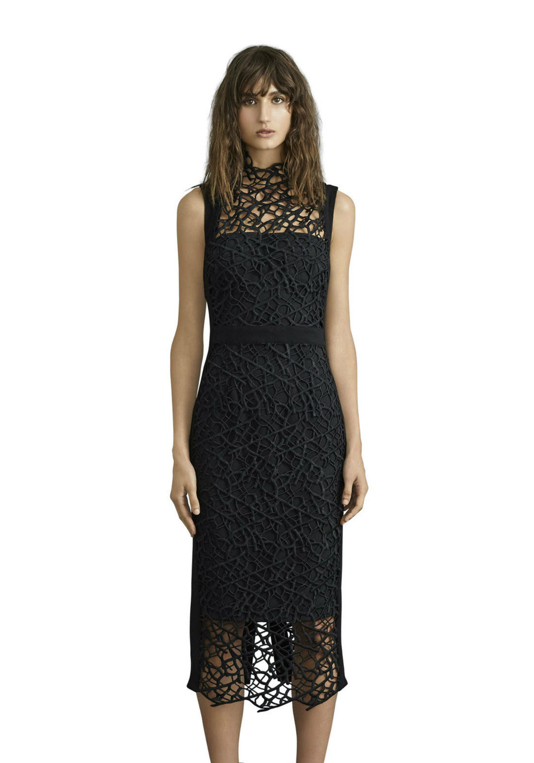 SOPHIA LACE MIDI DRESS - Black