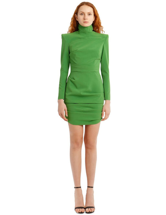 Pierce-Long Sleeve Stretch Crepe Mini Dress
