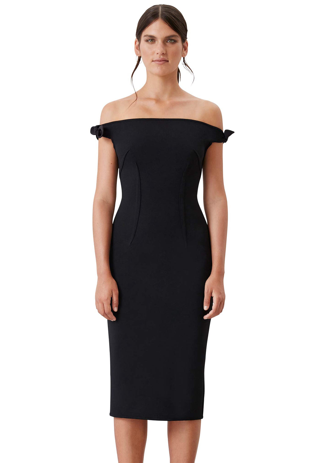 BARE SHOULDER TIE DRESS - Black