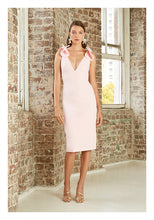 Load image into Gallery viewer, V PLUNGE BOW SHOULDER MIDI DRESS