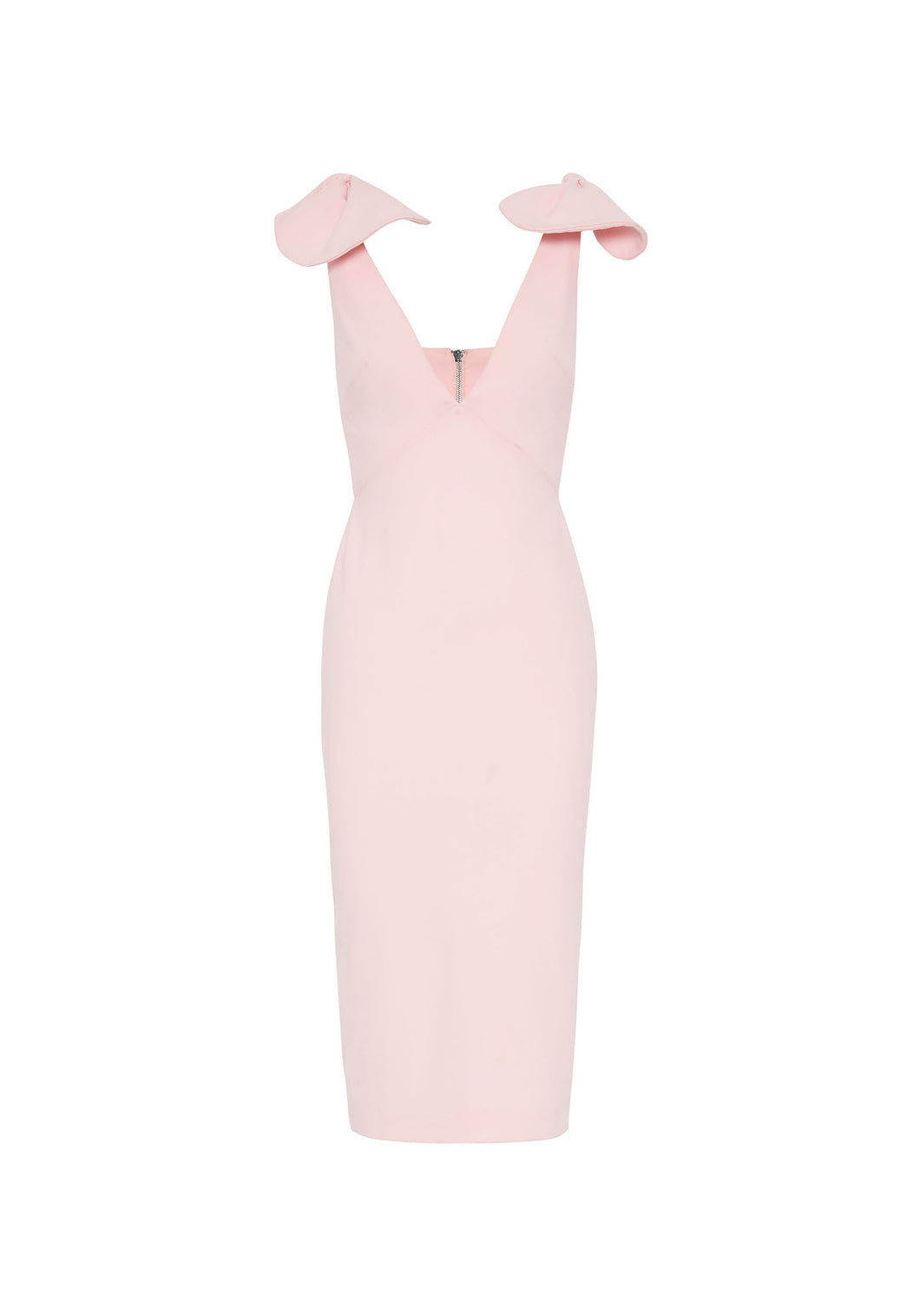 V PLUNGE BOW SHOULDER MIDI DRESS