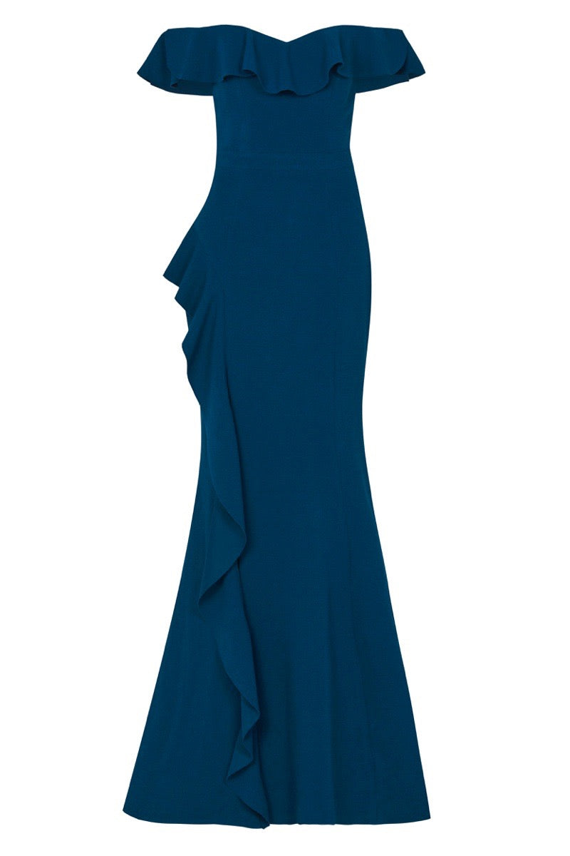 Aegean Off Shoulder Gown - Blue