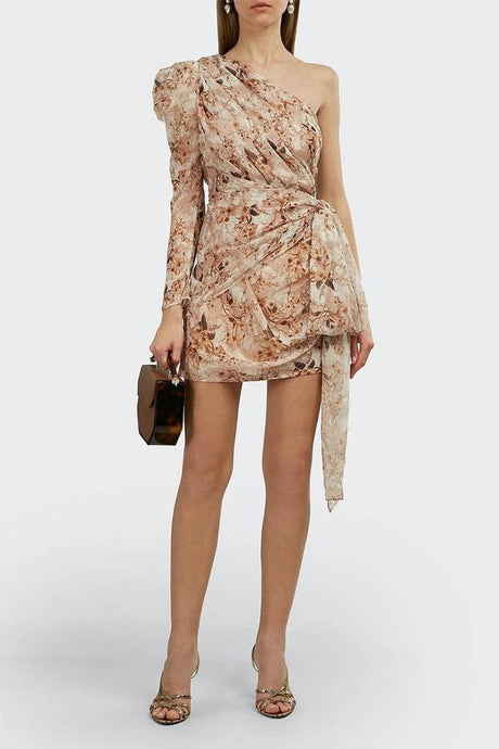 JAYLENE ONE SHOULDER FLORAL DRESS