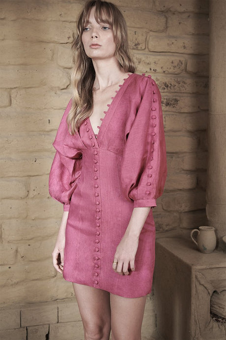 Isabella Linen Ramie Dress in Pink