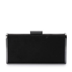 JORDANA GLITTER AND SUEDE CLUTCH - BLACK