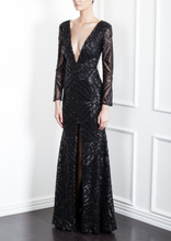 Load image into Gallery viewer, Sequin Deco Plunge Gown