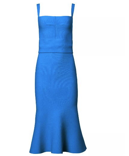 Crepe Knit Bralette Dress - Blue