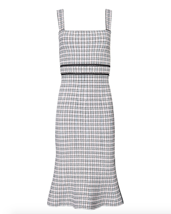 CREPE KNIT PLAID BRALETTE DRESS