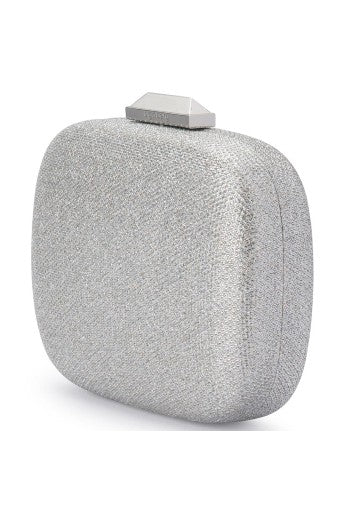 MISTY METALLIC ROUNDED CLUTCH - SILVER
