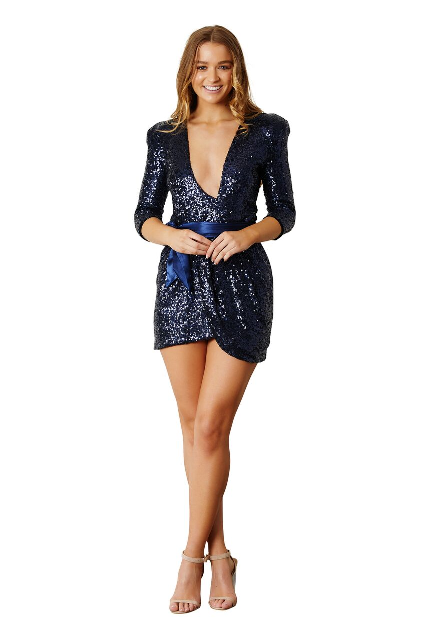 Sequin Mini Dress - Navy