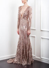 Load image into Gallery viewer, Rose Plunge Gown