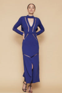 THE LATTICE DRESS - Blue