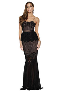 FRILLING AROUND GOWN - BLACK