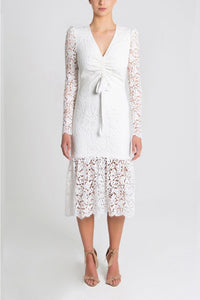 RUCHED DRESS - White