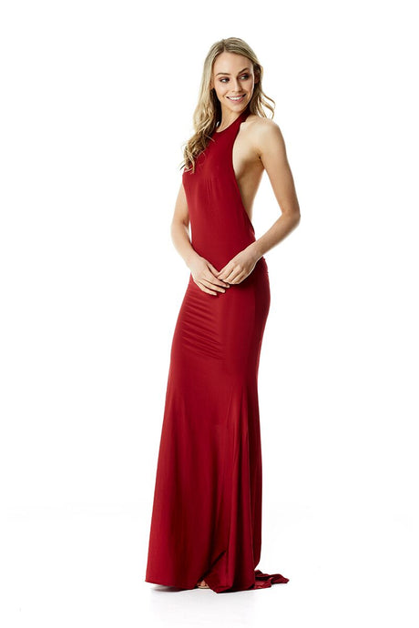 High neck Gown - Wine