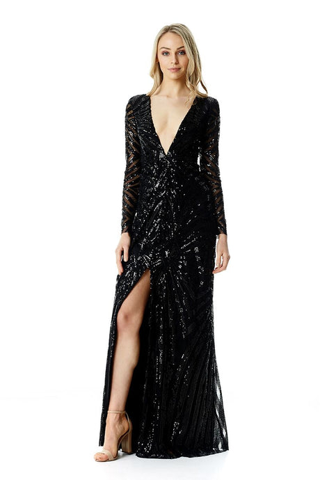 Sequin Deco Plunge Gown